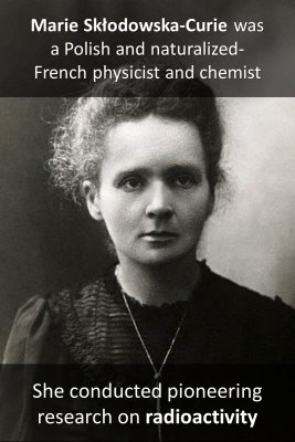 Marie Curie micro-learning cards