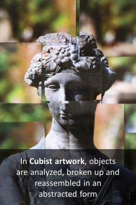 Cubist artwork bite sized information